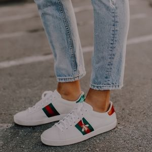 GUCCI Authentic Ace Bee White Sneakers 7.5